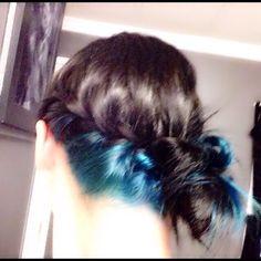 Black hair blue underneath. Punky color