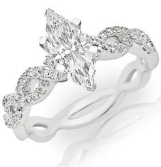 0.95 Carat Marquise Cut / Shape 14K White Gold Eternity Love Twisting Split Shank Diamond Engagement Ring ( F-G Color , SI1 Clarity ) - http://www.wonderfulworldofjewelry.com/jewelry/wedding-anniversary/engagement-rings/095-carat-marquise-cut-shape-14k-white-gold-eternity-love-twisting-split-shank-diamond-engagement-ring-fg-color-si1-clarity-com/ - Your First Choice for Jewelry and Jewellery Accessories