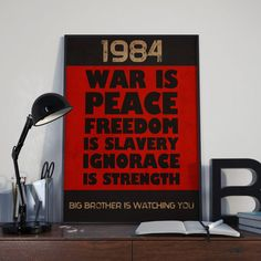 1984 George Orwell livre cite affiche  par AlcheraDesignPosters George Orwell 1984 Book, Eric Blair, Orwell Quotes, Literary Gifts, Radiohead, Great Words, Quote Posters, Powerful Words, Things To Think About