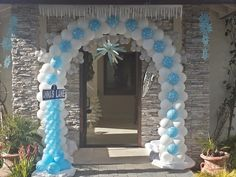 www.partyfiestadecor.com Frozen Balloon Decorations, Frozen Balloons, Hanukkah, Wreaths, Frame, Home Decor, Picture Frame, Decoration Home, Door Wreaths