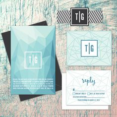 Geometric Ombre design mixed with a patterned belly band. Mix of blues with charcoal. Wedding Invitation Trend