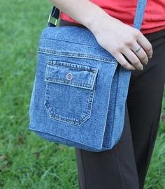 Denim messenger bag with a cross-body, adjustable strap...handmade and eco-friendly!