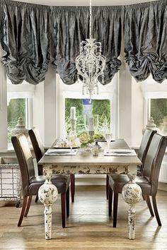 Steel gray window treatment--
