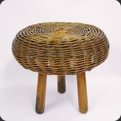 Wicker stool: vintage furniture
