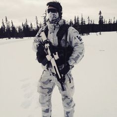 A Swedish Army Ranger at the range in Arvidsjaur, Sweden.