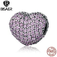 100% 925 Sterling Silver Pave Open My Heart, Pink Clear CZ Clip Charms Fit Pandora Bracelet DIY Jewelry Making EDC065