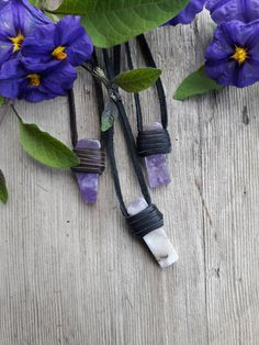 Leather Wrap amethyst Wrap Crystal Jewelry by TrippySerendipity