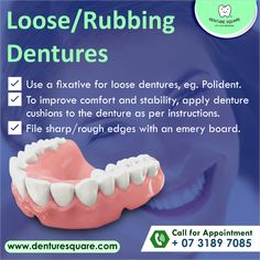 Do you have loose dentures? Save yourself the pain with our Tip of the Day 💡 . . .#cleandentures #denturesmile #denturetips #dentures #denture #dentist #dentistry #teeth #dentaltechnician #denturetechnician #denturesquare #denturesquarebrisbane #brisbane #smile #loosedentures #oralhealth Dental Technician, Dental Group, Tip Of The Day, Oral Health, Dentistry, Brisbane, Teeth, How To Apply, Smile