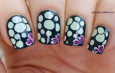 Attractive Simple Black Blobbicure Nailart with Purple Floral Design