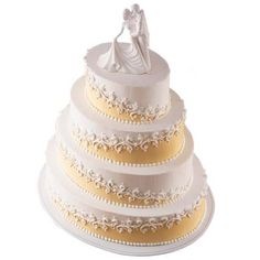 Etched On Ivory Cake - Adorned with the Elegance Figurine, this cake will wow your wedding guests. Elegant scrollwork is easily created using the Decorator Favorites® Pattern Press Set.