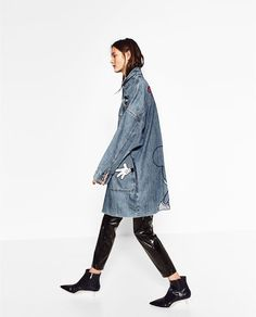 Image 3 of PRINTED DENIM TRENCH COAT from Zara