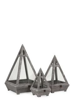 Kira 3-Piece Wood Terrarium Set