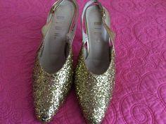 Vintage Biba 1960/70S Fabulous Gold Glitter Sandles
