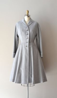Vintage 1950's gray wool princess coat dress