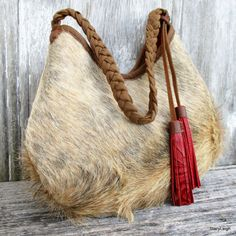 RESERVED for Jacq Light Brindle Hair On Cowhide Leather Hobo Bag with Red…