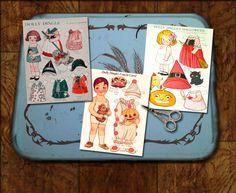 Dolly Dingle Vintage Halloween Paper Dolls Art by mindfulresource, $4.00