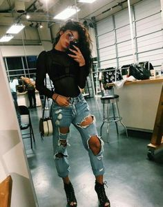 Image result for fishnet under jeans outfit