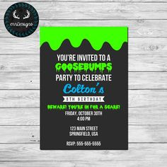 Goosebumps Party Invitation (Digital File) by ERRdesigns. INCLUDED: 1 digital file of invitation to be printed at photo lab 1 8.5x11 sheet for home