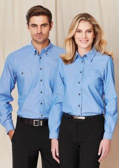 Women's Wrinkle Free Chambray Long Sleeve Shirt cotton with wrinkle-free treatment Easy iron - yarn dyed fabric Relaxed fit with straight hemline and side splits One left chest pocket Tortoise shell buttons Shirt Sleeves, Long Sleeve Shirts, Corporate Wear, Uniform Shirts, Business Shirts, Plain Shirts, Professional Dresses, Formal Looks, Manga