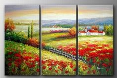 Italian Tuscany Red Poppy Field Landscape Abstract Wall Canvas Art Sets Painting for Home Decoration 100% Hand Painted Oil Painting Modern Art Large Canvas Wall Art Free Shipping 3 Piece Canvas Art Unstretch and No Frame by Canvasart, http://www.amazon.com/dp/B009S8VYFU/ref=cm_sw_r_pi_dp_ZTkDrb1Y05Y06