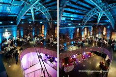 A wedding at the Armory. Colored lighting can be adjusted for every event!