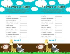 jungle themed baby shower game the price is right for jewelu0027s baby shower