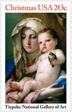 "This 1982 Christmas stamp featuring an 18th-century painting by Venetian artist Tiepolo was issued at the National Gallery of Art in Washington, D.C. The bird in the painting also gives it its title, ""Madonna of the Goldfinch."""