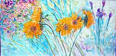 """Sunflower Radiance,"" Acrylic 24 x 48   by Andrea de Kerpely-Zak"
