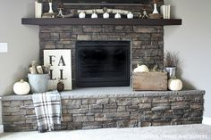 Neutral Fall Mantel - Corner Wall Fireplace - LOVE this! Home Fireplace, Fireplace Remodel, Fireplace Design, Fireplaces, Fall Fireplace Decor, Fireplace Furniture, Christmas Fireplace, Fireplace Ideas, Plywood Furniture