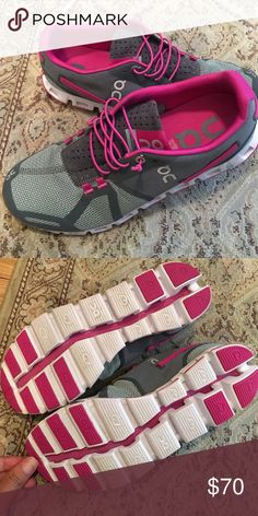 ON 'Cloud' Running Shoe Size 10 Worn 1x. Running Sneakers. Amazing deal. No box. Get the best of both worlds with the CloudTec® system: a Sero-Gravity foam-cushioned landing and an explosive rebound takeoff in a Swiss-engineered running shoe ideal for a neutral-gait runner looking for lightweight comfort. Neutral. Offers enhanced foot motion via cushioned insoles and minimal stability features. Lace-up style. Removable insole can be hand washed and air dried. Mesh and synthetic upper/mesh…