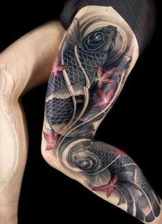 So, I will recommended you that koi tattoo designs is best for your shoulder, back or sleeve. These koi fish tattoo designs are the best for you. Tattoos Bein, Leg Tattoos, Black Tattoos, Body Art Tattoos, Tatoos, Carp Tattoo, Mädchen Tattoo, Tatto Koi, Tattoo Thigh