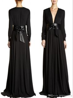 LQ Dubai Deep Low Cut Arabic Evening Dress Empire Waist Maxi Gown With Belt Black Chiffon Ruffles Abaya Long Sleeve Muslim Evening Gowns