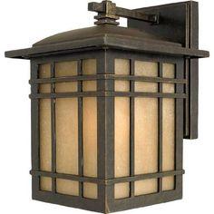 Outdoor Light Wall Fixture Lighting Exterior Lantern Lamp Bronze Glass Panel #Quoizel