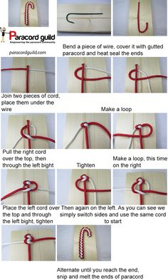 How to make a paracord candy cane - Paracord guild Paracord Tutorial, Paracord Knots, 550 Paracord, Christmas Projects, Christmas Crafts, Crafts To Sell, Diy And Crafts, Wire Crochet, Paracord Projects