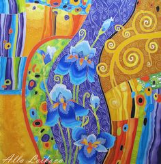 """Купить Шелковый авторский платок """"Волшебный сад"""" - разноцветный, Батик, платок батик, роспись по шелку"""