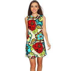 Carnaval Adele Colorful Print Summer Shift Dress - Women