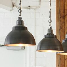 Brooklyn Vintage Metal Dome Pendant Light - Dark Pewter and Brushed Copper - 13 inch, just the thing for home, restaurants, hotels and cafés. Glass Pendant Lights Uk, Wire Pendant Light, Kitchen Pendant Lighting, Kitchen Pendants, Pendant Lamp, Industrial Lighting, Ceiling Rose, Ceiling Lights, Black And Copper Kitchen