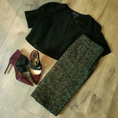 Cause it's cold out there...Black Tweed Skirt Nine West fully lined, two front pockets and narrow belt loops. Side zip for clean lines Nine West Skirts