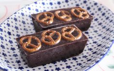 Crunchy pretzels are ground up and then stirred into dark, rich melted chocolate.