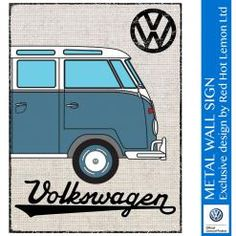 VW CAMPER HESSIAN - BLUE WALL SIGN