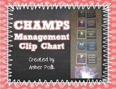 Do you use PBIS or CHAMPS Strategies at your school? This clip chart is a great way to manage CHAMPS in your classroom. 1. Simply print, laminate and cut each CHAMPS card. 2. Attach the CHAMPS cards to a ribbon. 3. Use a clothespin to show students the expectations.