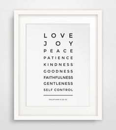 Bible Verse Print, Love, Joy, Peace, Patience, Galatians 5 22, Christian Print, Christian Art, Bible Verse Art, Scripture Wall Art