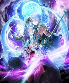 1boy armor artist_request bare_shoulders blue_eyes cape cloud cygames elbow_gloves eyebrows_visible_through_hair eyes_visible_through_hair gloves glowing glowing_eyes glowing_weapon grimnir hair_over_one_eye hand_on_own_face heterochromia holding holding_weapon light_blue_hair official_art polearm red_eyes shadowverse shingeki_no_bahamut shoulder_armor smile sparkle spear weapon