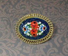 Micro mini mosaic floral brooch. Navy blue red white by hlhanners