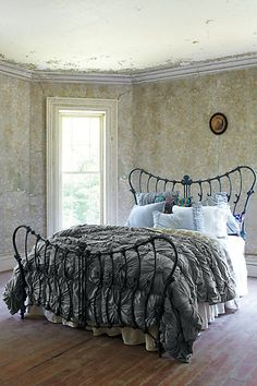 """Anthropologie. Bed frame. """"Purposefully abandoned house"""" look."""