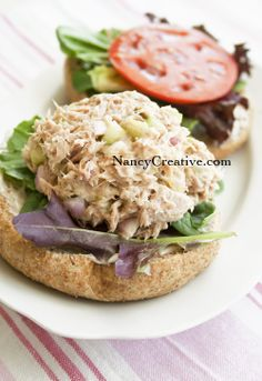 Dill Pickle Tuna Salad - no red onion, no pickle. Serve in lettuce wrap, in half a pepper, or on cucumber slices