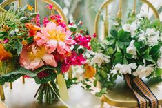 The brides carried two distinct #bouquets, one mostly white and the other full of color. The white #bridal bouquet was full of wild #gardenias on the stem, mint, and other interesting foliage, and had the most heavenly scent. The colorful bouquet showed off coral charm #peonies, mango cala lilies,  sunset-colored roses, orange #dahlias, trumpet vine and bougainvillea; it felt like happiness. Both followed a wild, loose, and natural style. #weddings #weddingflowers