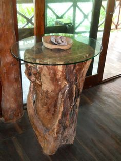 Table made of wood of trees fallen in the hurricane Wilma 2005 at cenotes Labnaha. www.labnaha.com