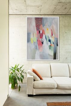 large abstract painting, white, blue, green, pink, modern art, expressionist art