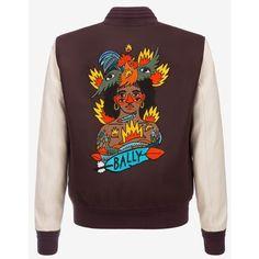 Bally Swizz Beatz Embroidered Varsity Jacket Men's mixed wool varsity... ($1,695) ❤ liked on Polyvore featuring men's fashion, men's clothing, men's outerwear, men's jackets, mens wool outerwear, mens letterman jacket, men's varsity style jackets, mens leather sleeve jacket and mens varsity jacket